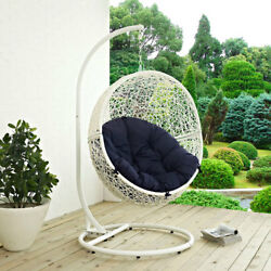 Modway Furniture Hide Outdoor Patio Swing Chair in White Navy - EEI-2273-WHI-NAV