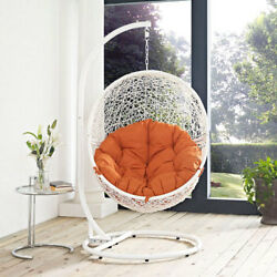 Modway Furniture Hide Outdoor Patio Swing Chair in White Orange