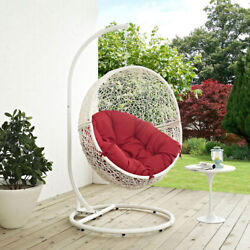 Modway Furniture Hide Outdoor Patio Swing Chair in White Red - EEI-2273-WHI-RED