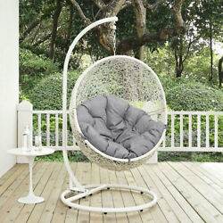 Modway Furniture Hide Outdoor Patio Swing Chair in White Gray - EEI-2273-WHI-GRY