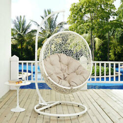 Modway Furniture Hide Outdoor Patio Swing Chair in White Beige