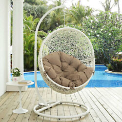 Modway Furniture Hide Outdoor Patio Swing Chair in White Mocha