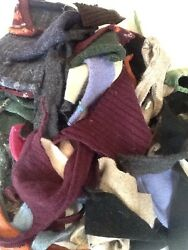 LOT 8  FELTED WOOL SWEATER SCRAP SM- Med Pieces 1 LB FOR WOOL APPLIQUE PROJECTS