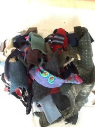 LOT 5  FELTED WOOL SWEATER SCRAP SM- Med Pieces 1 LB FOR WOOL APPLIQUE PROJECTS