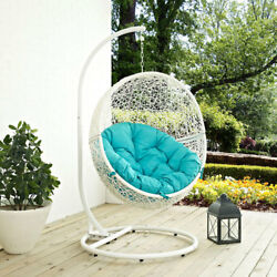 Modway Furniture Hide Outdoor Patio Swing Chair in White Turquoise
