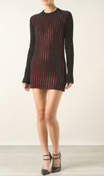 ANTHONY VACCARELLO Black Cashmere Red Swarovski Crystal Sweater Dress  XS  S