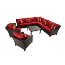Outdoor 9PC Sectional Corner Sofa Set w Club Chairs Wicker Rattan Hand Woven