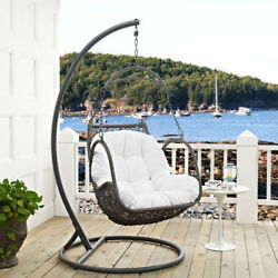 Modway Furniture Arbor Outdoor Patio Wood Swing Chair in White