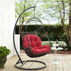Modway Furniture Arbor Outdoor Patio Wood Swing Chair in Red - EEI-2279-RED-SET