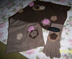 NWT Caroline Grace Chic Shabby 100% Pure Cashmere Scarf Gloves Brown Camel Pink