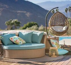 2 Piece Patio Daybed Egg Swing Leisure Seating Set Outdoor Home Furniture Deck