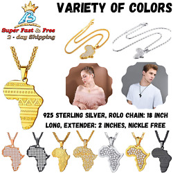 Africa Map Pendant African Jewelry Gold Plated Necklace Chain Stainless Steel
