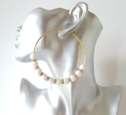 Gorgeous large 8cm gold tone - white bead & diamante big hoop earrings