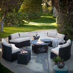 Fire Pit Chat Set Curved Sectional Propane Table 2 End Tables Outdoor Wicker