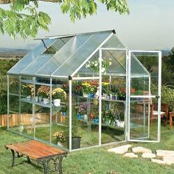 6x8 Greenhouse Aluminum Frame All Weather Walk-In Nursery Polycarbonate Panels