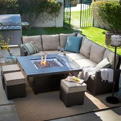 Sectional Sofa Set Fire Pit Outdoor Patio Conversation Chat Garden Propane Table