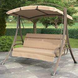 Beige Cushion 3 Person Patio Arched Canopy Swing Home Outdoor Furniture Poolside