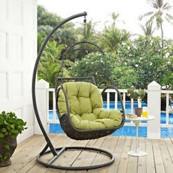 Modway Furniture Arbor Outdoor Patio Wood Swing Chair in Peridot