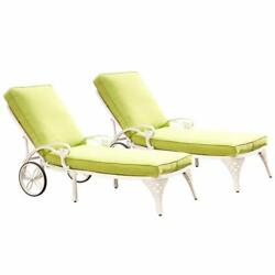 Biscayne White Chaise Lounge Chairs with Green Apple Cushions Set of Two