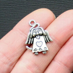 10 Dog Angel Charms Antique Silver Tone In Memory Charm - SC3083 $3.49