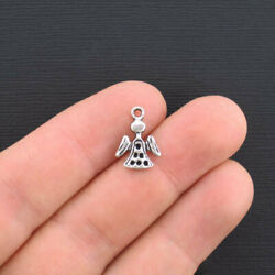 10 Small Angel Charms Antique Silver Tone - SC2883 $3.49