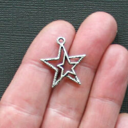 12 Star Charms Antique Silver Tone Double Star Design SC894 $3.99
