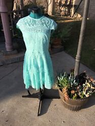 BB Dakota Mint Lace Dress Exposed Back Size 6 Nordstrom Cocktail Holiday Party $57.99