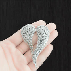 1 Large Wings Charms Antique Silver Tone Angel Wings - SC2661 $3.49