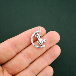 4 Dog Charms Antique Silver Tone 2 Sided Detail Rotating Charm SC6068 $3.49