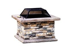 Concrete Outdoor Wood Burning 29 inch Fire Pit Heater Stone Patio Backyard
