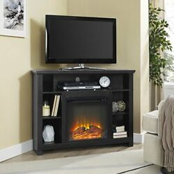 Corner Fireplace TV Stand BLACK Storage Cabinet Electric Space Heater Up To 48