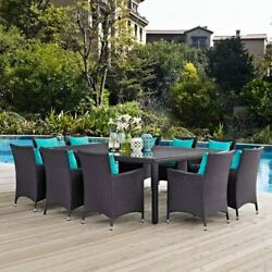 Modway Furniture Convene 11 Piece Outdoor Patio Dining Set in Espresso Turquoise