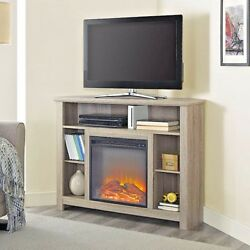 Corner Fireplace TV Stand Wood Storage Cabinet Electric Space Heater Up To 48