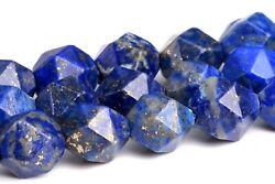 7-8MM Blue Lapis Lazuli Star Cut Faceted A Natural Gemstone Loose Beads 14