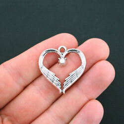 5 Heart Wings Charms Antique Silver Tone Memorial Angel Charm- SC4709 $3.49