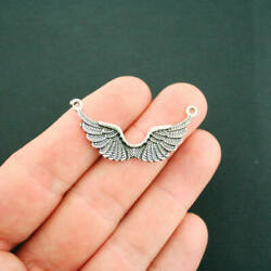 6 Angel Wings Connector Charms Antique Silver Tone Amazing Detail - SC6790 $3.49