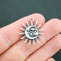3 Moon and Sun Charms Antique Silver Tone 2 Sided Larger Size- SC4816 $3.49