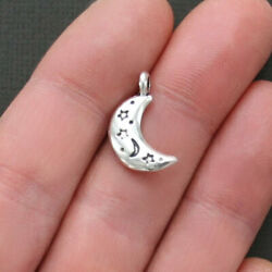 BULK 50 Moon Charms Antique Silver Tone 2 Sided with Etched Decorations - SC1847 $10.49