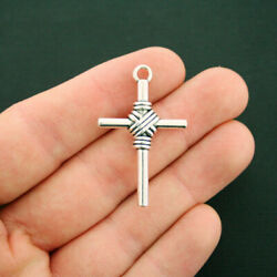 4 Cross Pendant Charms Antique Silver Tone 2 Sided SC6321 $3.99
