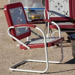 Retro Metal Arm Chair Patio Furniture Vintage Style Garden Pool Deck Porch Red