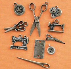 Sewing Charm Collection Antique Bronze 10 Different Charms COL090 $5.24
