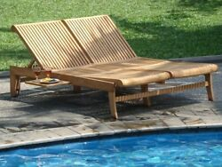 Giva 100% Teak Armless Double Chaise Lounger Outdoor Garden Patio Steamer Sun