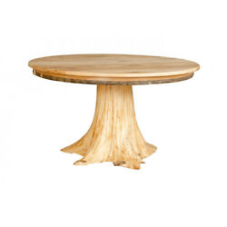 Rustic White Cedar Stump Dining Table with Hickory Top - Amish Made in USA
