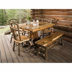 White Cedar Stump Table with Live Edge Hickory Top - Includes 4 Chairs and Bench