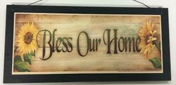 sunflowers Bless our Home country kitchen wooden wall art sign wood decor flower