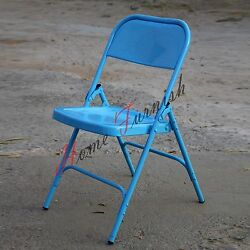 Iron Metal Folding Outdoor Chairs Garden Chair Colorful Red Blue Black White
