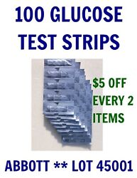 100 Abbott Blood GLUCOSE Test Strips for PRECISION XTRA & other meters- 2021 APR $38.99