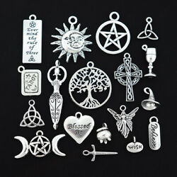Wiccan Charm Collection Antique Silver Tone 18 Different Charms COL016 $7.44