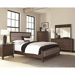 RETRO 4 PC TUFTED GRAY UPHOLSTERED BROWN OAK QUEEN BED NS DRESSER FURNITURE SET