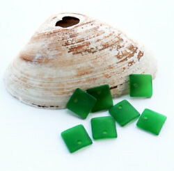 2 Sea Glass Beads Cultured Concave Square Shape with Drilled Hole - U051